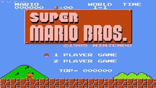 Start screen for Super Mario Bros