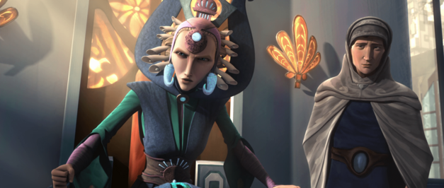 "Star Wars: The Clone Wars, ""The Mandalore Plot"": Duchess Satine Kryze and Senator Tal Merrik of the New Mandalorians"