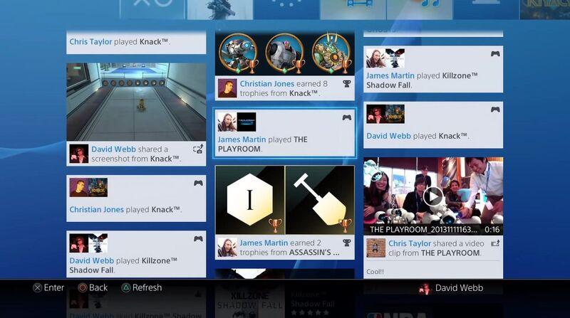 Playstation 4 Social Interface