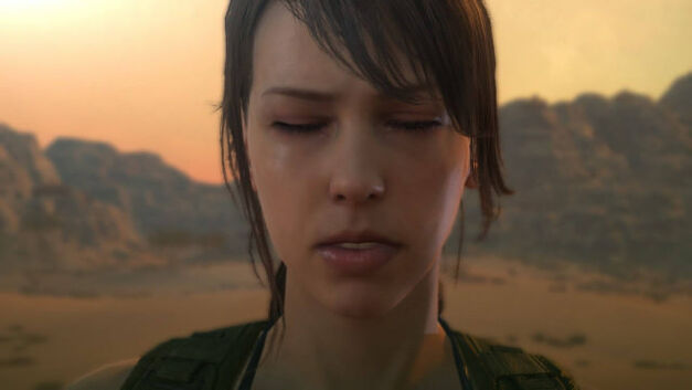 quiet with her eyes closed and sunset background metal-gear-solid-v