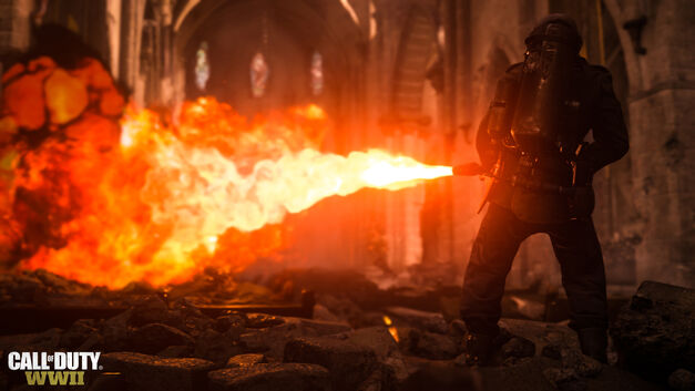 A flamethrower at work in CoD:WWII