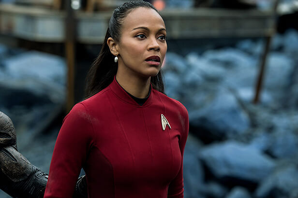 Zoë Saldana plays Uhura in Star Trek Beyond from Paramount Pictures, Skydance, Bad Robot, Sneaky Shark and Perfect Storm Entertainment