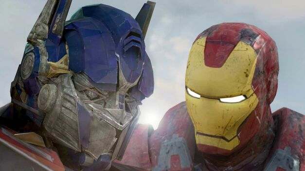 optimus prime and iron man in super power beat down