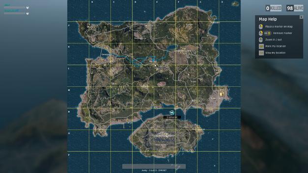 A far-off cursor in Battlegrounds map Erangel.