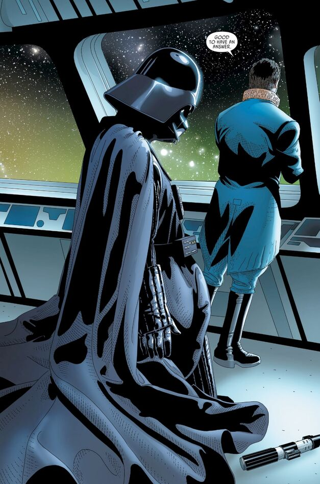 Panel from Darth Vader, Issue 23 featuring Vader and Cylo-V