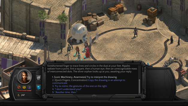 A sample of skill-based challenges in Tides of Numenera.