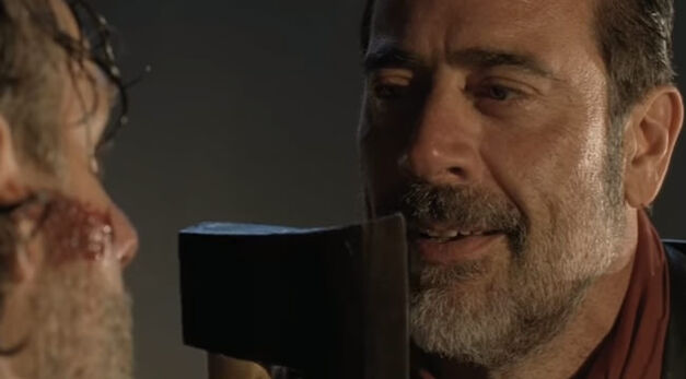Negan confronting Rick with a lesson in reality in the Season 7 premiere of The Walking Dead