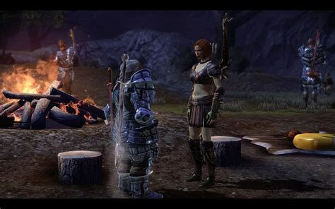 The Warden speaking with Leliana at the party camp.