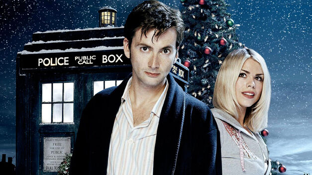 David Tennant companion and TARDIS with Christmas Tree in the background Doctor Who