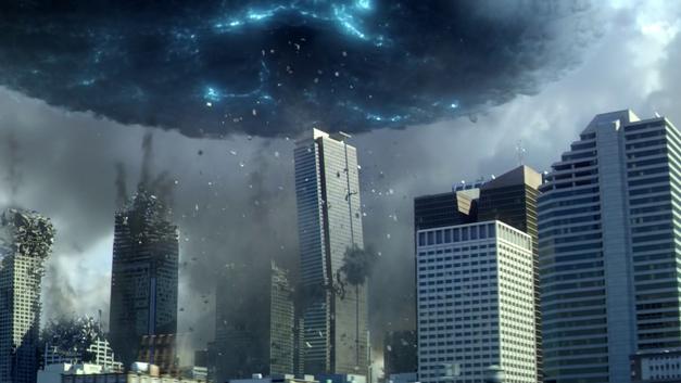 the flash season 1 finale buildings crumble under blue cloud