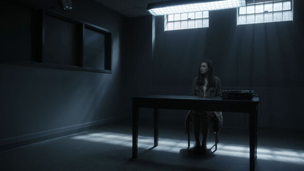 Juliana in an interrogation room The Man in the High Castle episode Travelers