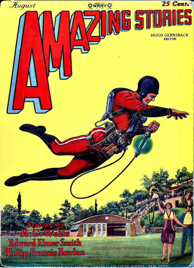 The jetpack on the cover of Amazing Stories