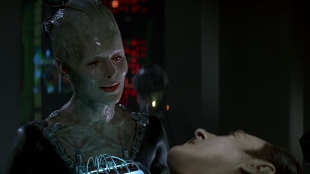 star trek look back first contact borg queen data
