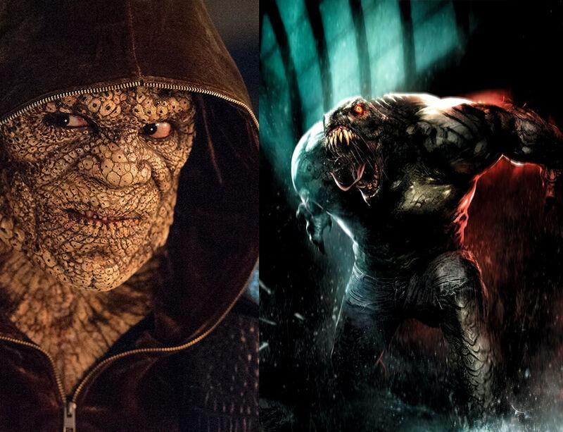Killer Croc Suicide Squd Comics Movie Comparison