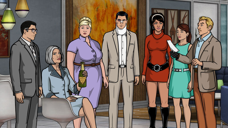 "ARCHER -- ""The Figgis Agency"" -- Episode 701 (Airs Thursday, March 31, 10:00pm e/p) Pictured: (l-r) Cyril Figgis (voice of Chris Parnell), Malory Archer (voice of Jessica Walter), Pam Poovey (voice of Amber Nash), Agent Sterling Archer (voice of H. Jon Benjamin), Agent Lana Kane (voice of Aisha Tyler), Cheryl (voice of Judy Greer), Agent Ray Gillette (voice of Adam Reed). CR: FX"