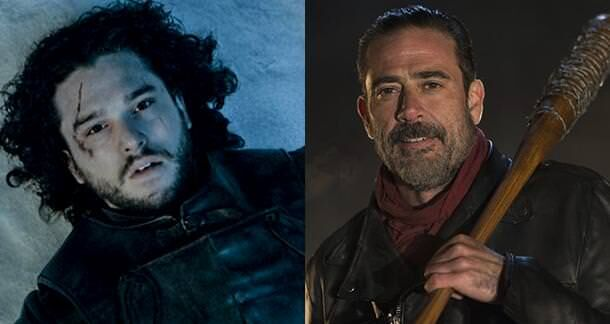 walking dead game of thrones negan jon snow