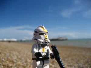 Lego Clone Trooper on Brighton beach