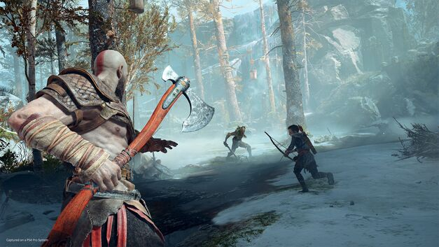 Kratos gets ready to throw his axe