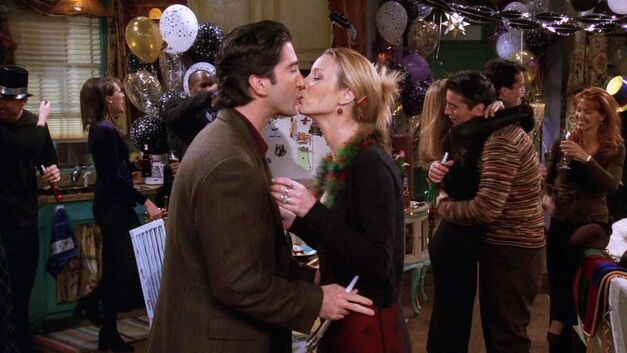 friends new years episode ross phoebe kiss