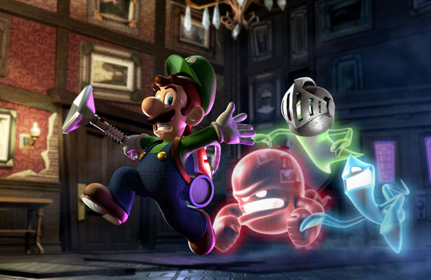 luigis mansion Halloween ghosts chasing luigi with Poltergust 5000 vacuum cleaner