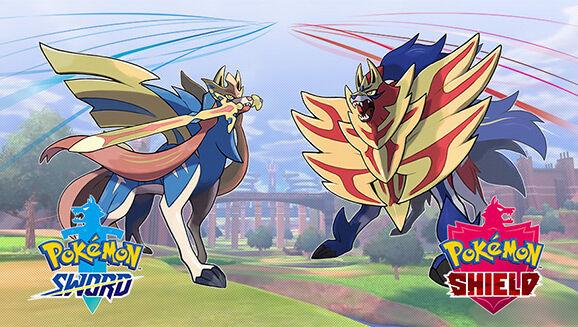 Zacain and Zamazenta face off with Galar's Wild Pokemon region in the background