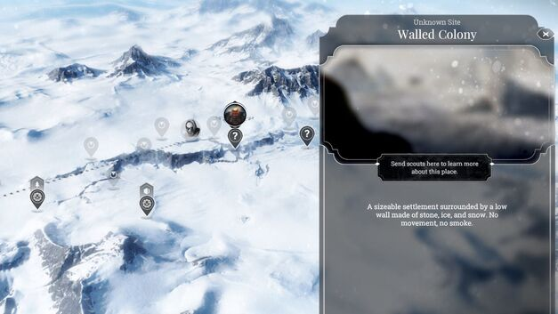 The overmap in Frostpunk with areas to explore