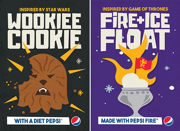 Wookiee Cookie (inspired by Star Wars) with a Diet Pepsi; Fire + Ice Float (inspired by Game of Thrones) made with Pepsi Fire