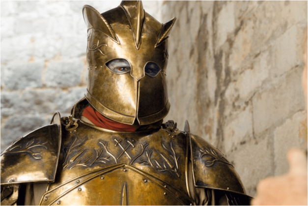 the mountain from game of thrones gold metal armor
