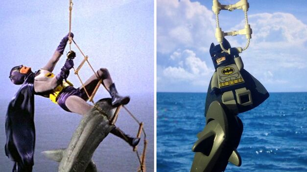 adam west batman shark attack and lego batman shark attack