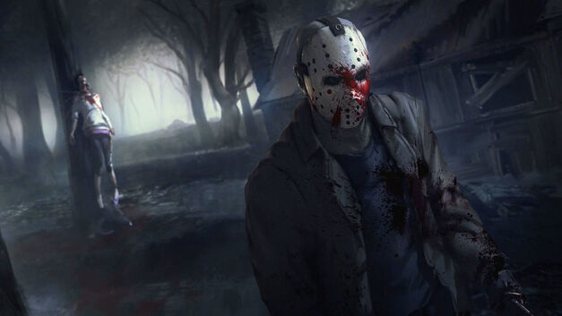 Friday the 13th game Jason Voorhees with bloody mask and murdered teen
