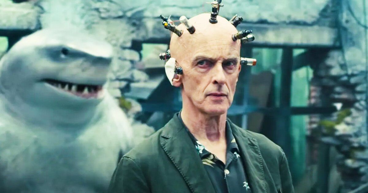 Peter Capaldi as The Thinker with Sylvester Stallone's King Shark.