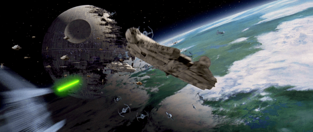 Star Wars ship The Millennium Falcon at the Battle of Endor