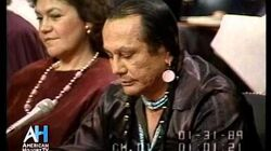 Russell Means criticizes leadership at Senate Hearing 1989 on First Nation affairs