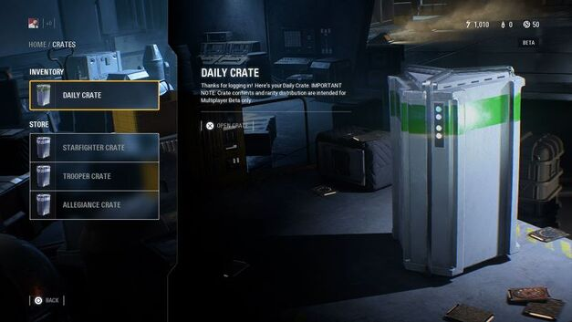 Star Wars Battlefront II Daily Loot Crate