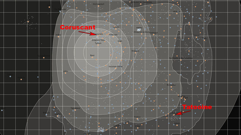 Star Wars galaxy map Tatooine Coruscant