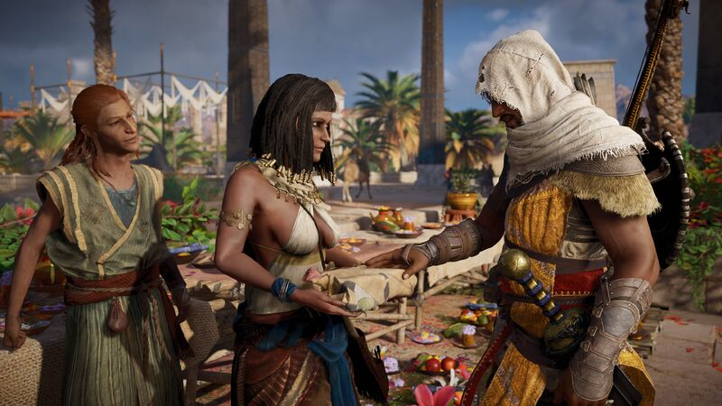 Bayek in the Market searching for information on why the Pharaohs have been resurrecting.