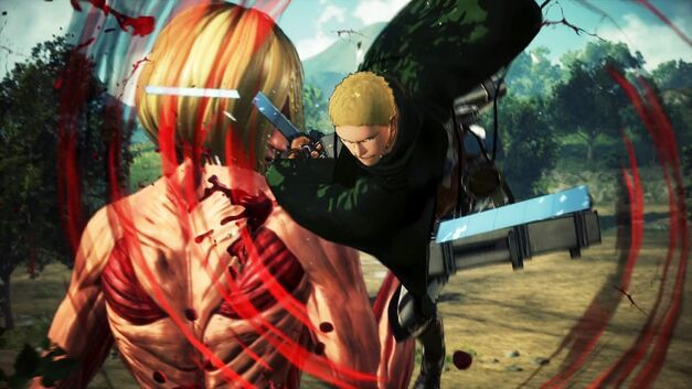 Reiner Braum of the Cadet Corps attacking an abnormal Titan