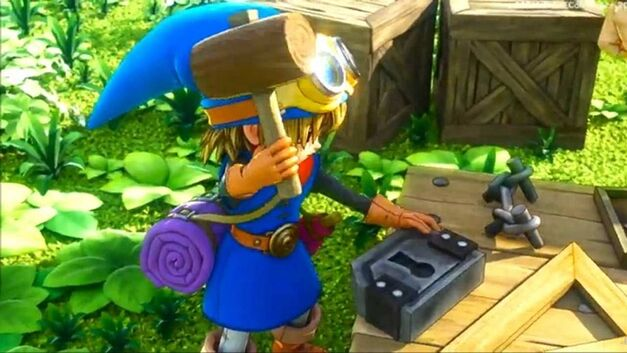Dragon Quest Builders builder crafting a lock