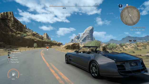A screenshot of the Final Fantasy XV team driving down the highway.