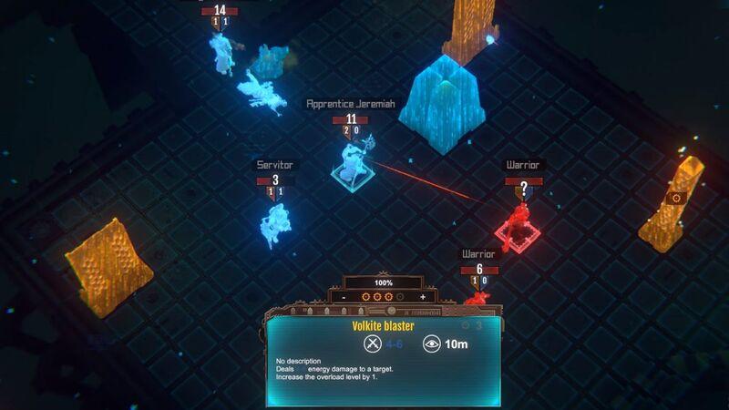 A Tech-Priest aims at a Necron