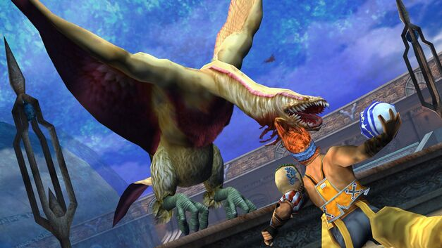 Wakka fighting garuda creature with blitzball from game Final Fantasy X