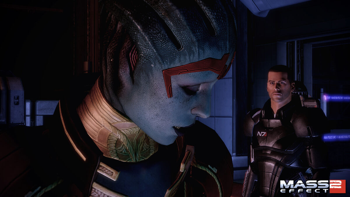 Samara and Shepard on a mission in Mass Effect 2
