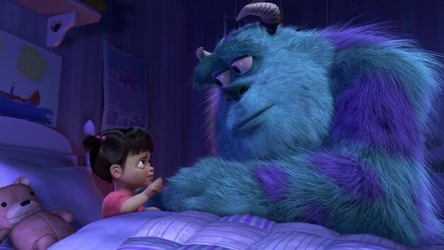 Boo and Sulley say goodbye in monsters, inc.