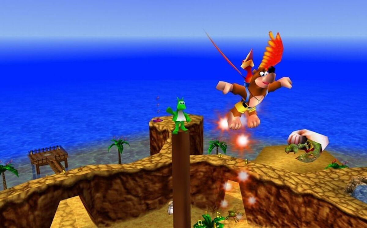 Kazooie flying Banjo over Treasure Trove Cove