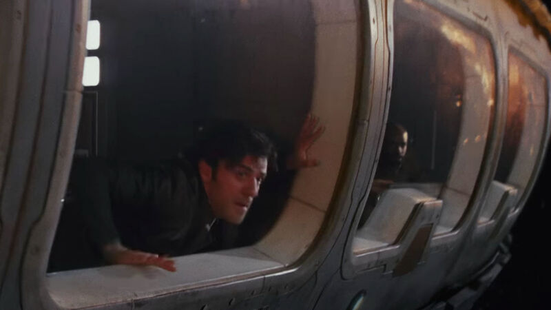 Poe Dameron watches a space battle