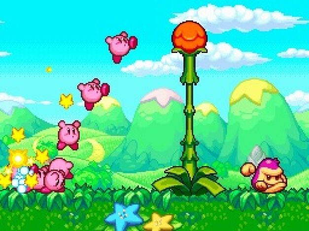 A team of adorably Kirbys (Kirbies?) works together in Kirby Mass Attack.