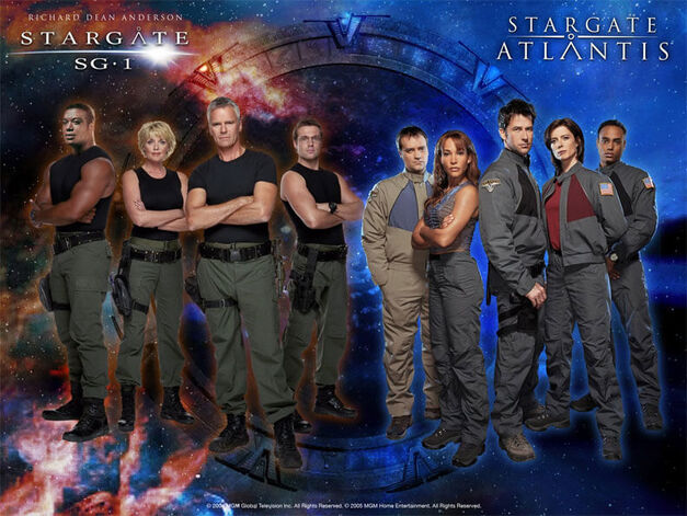 Stargate SG1 and Stargate Atlantis crews promotional image