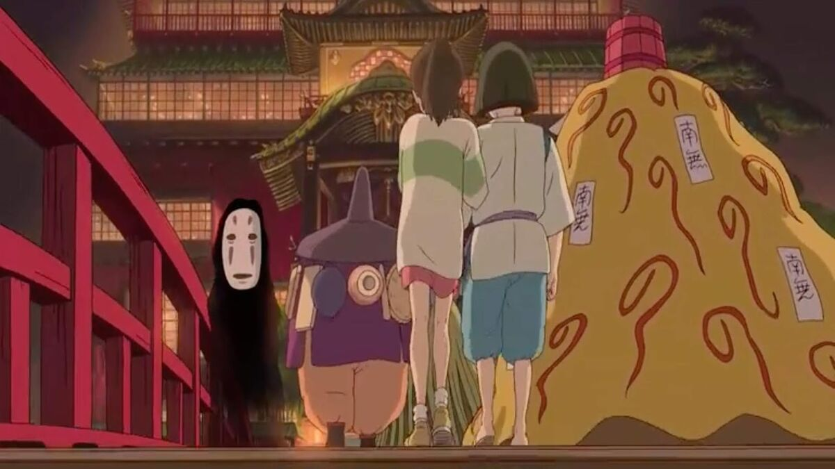 No-Face sees Chihiro on bridge in Spirited Away