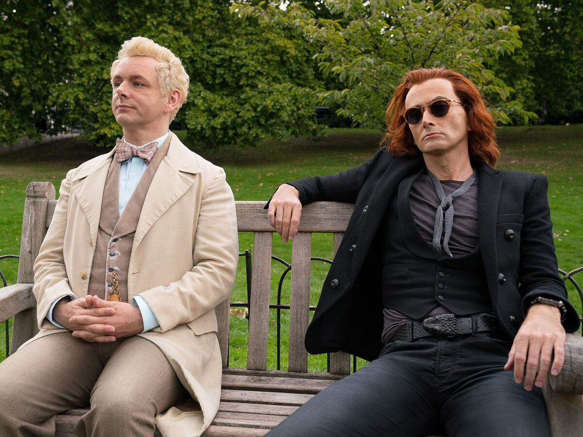 Aziraphale and Crowley bench Good Omens