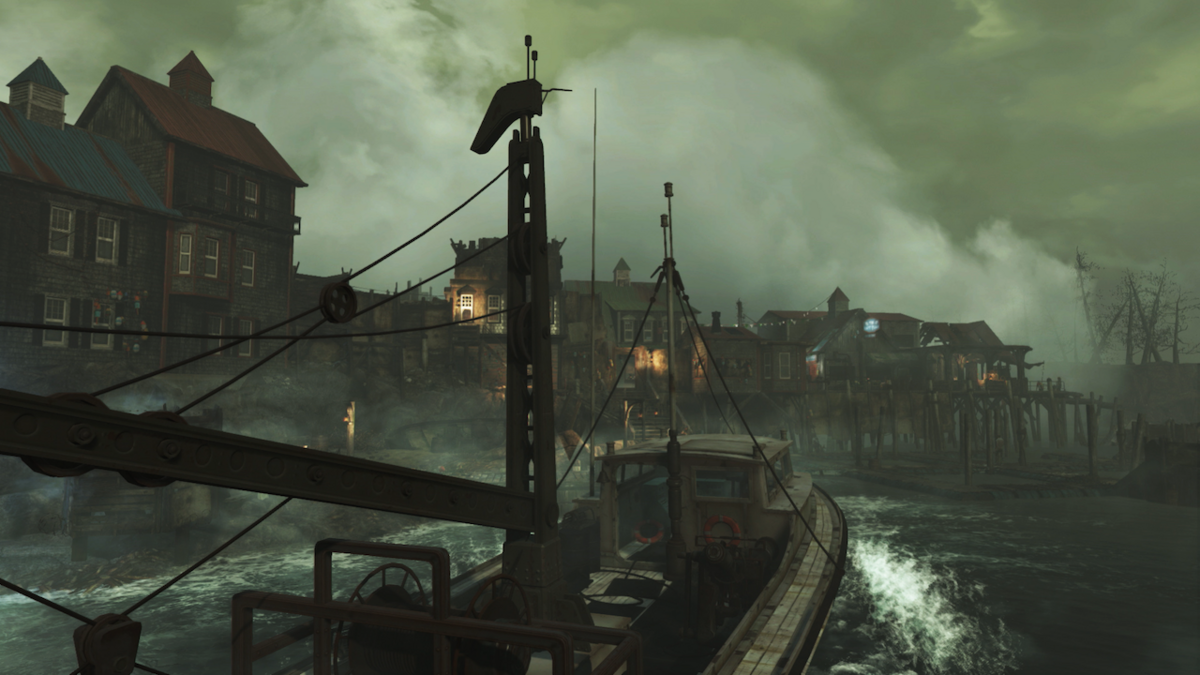 A foggy view of Far Harbor from a boat